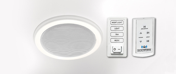 Home Netwerks Decorative White 90 Cfm Bluetooth Stereo Speaker Bath Fan With Led Light 7130 02 Bt At The Depot Mobile